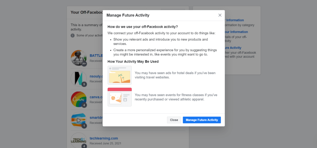 stop facebook from tracking