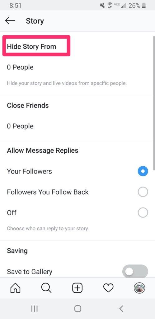 Instagram tip to hide story